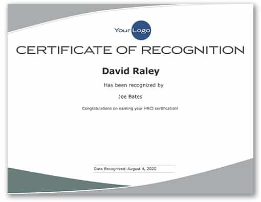 Preview of certificate of recognition