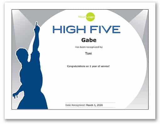 Preview of high five certificate