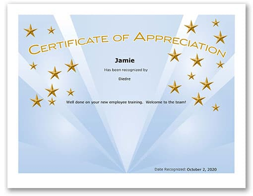 Blue certificate with gold stars and gold text that says certificate of appreciation
