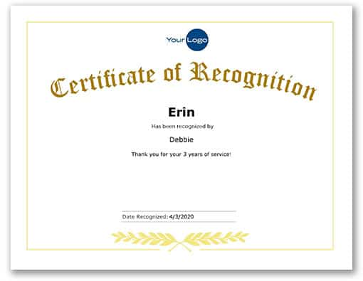 White certificate with gold text that says certificate of recognition