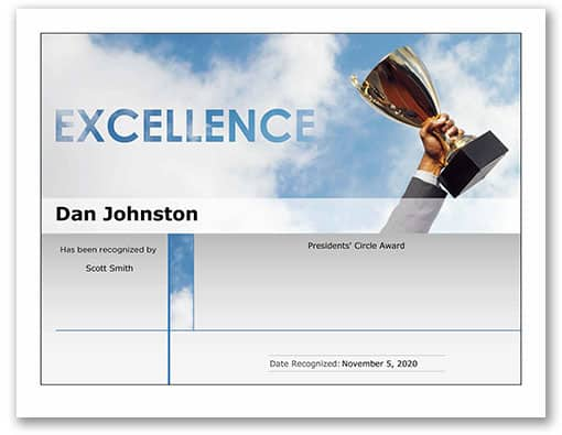 Preview of a certificate template that features a hand holding a trophy in front of a sky